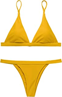 Women Sexy Triangle Top Brazilian Cheeky Bikini Set Swimsuit