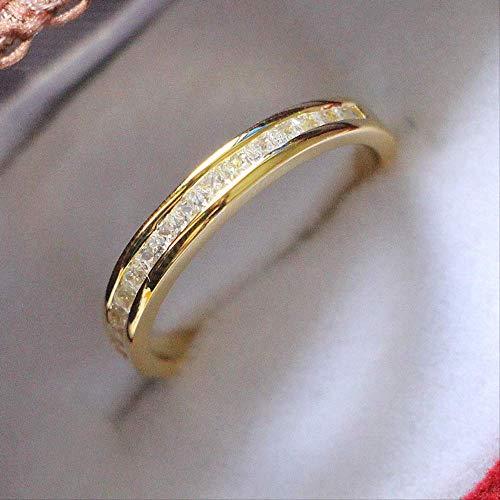 IWINO massief 925 sterling zilveren ring Geelgouden kleur diamanten band Prachtige prinses geslepen micro-verharde ring