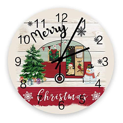 Reloj de pared redondo de madera de 10 ', silencioso, funciona con pilas, sin tictac, Feliz Navidad Camper, silencioso, oficina, cocina, dormitorio, reloj de pared, decoración del hogar, feliz camping