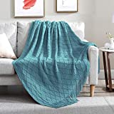 Walensee Throw Blanket for Couch, 50 x 60 Blue, Acrylic Knit Woven Summer Blanket, Lightweight Decorative Soft Nap Throw with Tassel for Chair Bed Sofa Travel Picnic, Suitable for All Seasons