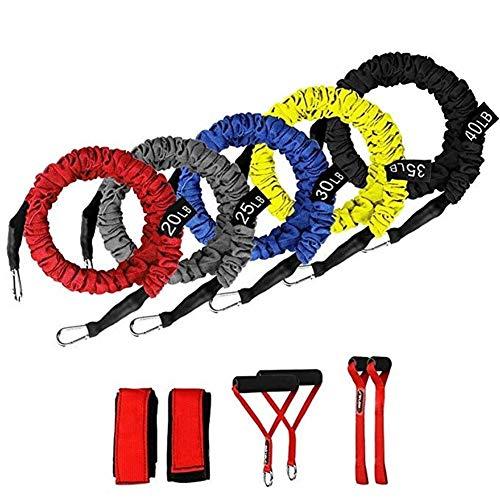 150 Lbs banda de resistencia Conjunto de funciones de ejercicios de resistencia látex Tubos Incluir Bandas de ejercicio apilable con asas, bolsa de transporte, piernas correas del tobillo y ancla de l