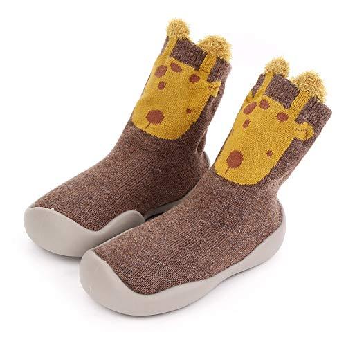CRE87 Baby Jungen Mädchen Socken Schuhe Unisex Kleinkind Hausschuhe Socken Stiefel mit rutschfest Gummisohle Kniestrümpfe Hüttenschuhe