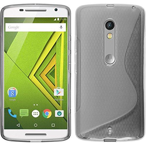 PhoneNatic Case kompatibel mit Motorola Moto X Play - grau Silikon Hülle S-Style + 2 Schutzfolien