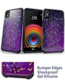 for 5.3' LG X Power LS755 xpower Case Phone Case Shock Proof Edges Designed Hard Back Hybrid Armor Layers Bumper Slim Cover (Blossom Purple)