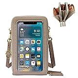 ADELGO Touch screen Borsa per Donna Crossbody Borsa a Tracolla Borsetta per Cellulare Piccola Borsa con Fessure per Carte e Cinturino Spalla Sostituibile in Metallo per Phone inferiori a 6.5''