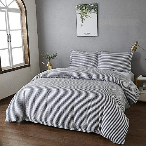 Best Season Duvet Cover Set 3 Piece Set - Luxucy Softest Microfiber Comforter Cover with 2 Piece Pillow Shams,Zipper Closure(Striped Navy Blue,Queen Size)