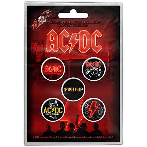 for-collectors-only Juego de 5 chapas de AC/DC Power Up con logotipo de la serie Dark Stage