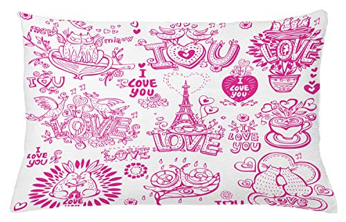 Ambesonne Doodle Throw Pillow Cushion Cover, I Love You Valenties Design Hugging Touching Singing Hearts Coffee Expressing Affection, Decorative Rectangle Accent Pillow Case, 26' X 16', Pink