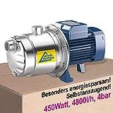 Inno-Tec - Bomba centrífuga de agua doméstica (450 W, bajo consumo, auto-aspirante, de acero inoxidable, apta para aguas claras, certificación europea)