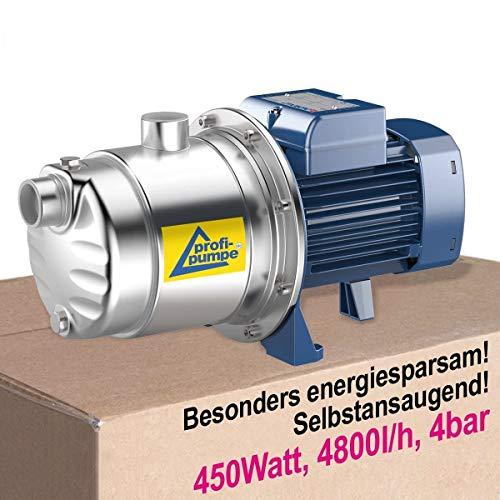 HAUSWASSERWERK HAUSWASSERAUTOMAT KREISELPUMPE PUMPE INNO-TEC 450 Watt LEISE ENERGIESPARSAME SELBSTANSAUGEND EDELSTAHL-Pumpe Hauswasserpumpe für Klarwasser aus EU-FERTIGUNG DAUERLAUF-geeignet
