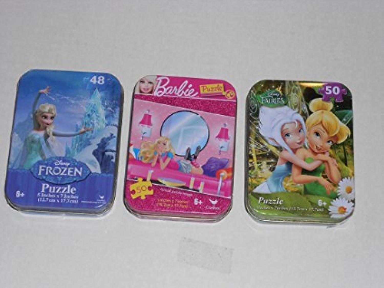 3 Mini Puzzles in Travel Tins  Frozen & Barbie & Fairies