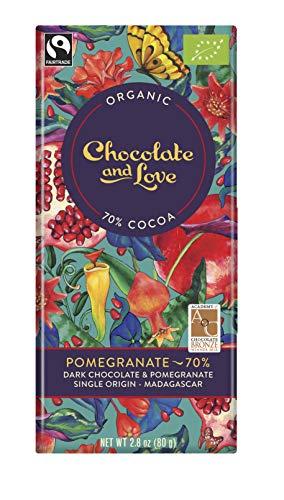 Chocolate and Love Dunkle Schokolade mit Granatapfel (80 g) - Bio