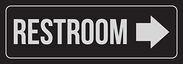 iCandy Combat Black Background with Silver Font Restroom - Right Arrow Outdoor & Indoor Plastic Wall Sign - Single, 3x9 Inch