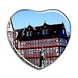Hqiyaols Souvenir Germania Romer Square Francoforte Frigo Magnete A Forma di Cuore Cristallo Adesivo per Frigorifero Viaggio Regalo Collezione Souvenir