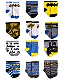 DC Comics Baby Boys Superhero Character Socks: Batman and Justice League 12 Pack (Newborn and Infants), Blue/Yellow/Black Batman, Size Age 12-24M