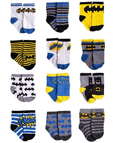 DC Comics Baby Boys Superhero Character Socks: Batman and Justice League 12 Pack (Newborn and Infants), Blue/Yellow/Black Batman, Size Age 12-24M