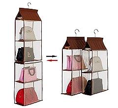6 Pockets Hanging Closet Organizer Foldable Handbag Bag newmc Storage Purse K3G2