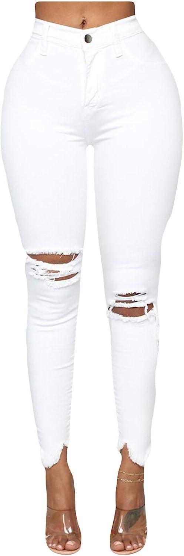 FUNEY Women's High Rise Skinny Jeans Plus Size Cutout Ripped Leggings Yoga Active Pants Solid Color Denim Regular Pants