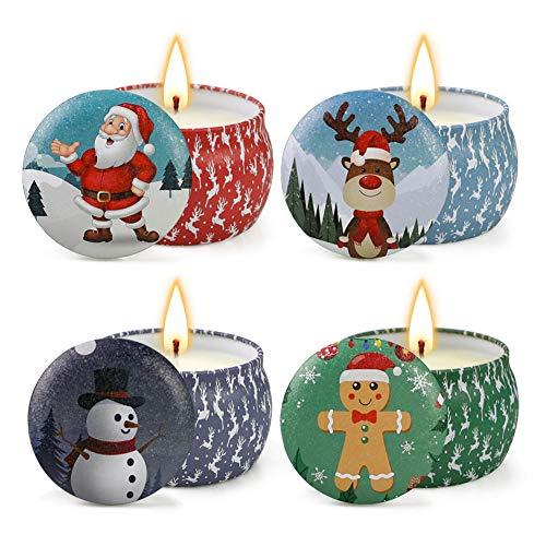 CHAN Soja-Kerzen, Weihnachtskerzen-Set, Kerzen Bath and Body Works, Natur Kerze Geschenk, Stress Relief Und Aromatherapie -4-Pack