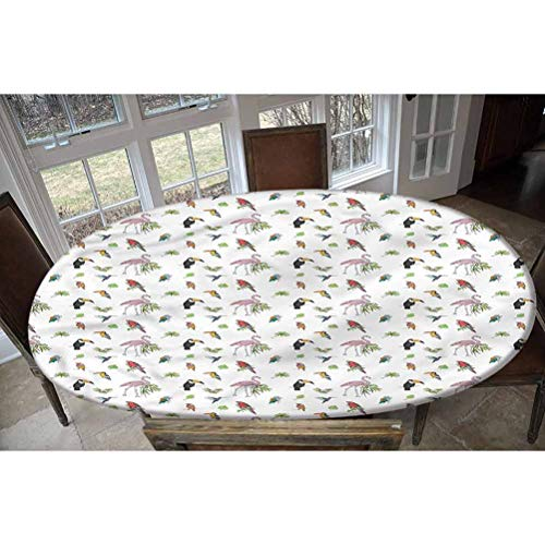 Lyheller Bird Elastic Edged Polyester Fitted Tablecolth -Flamingo Cockatoo Parrot Birds- Oval/Olbong Fitted Table Cover - Fits Oval/Olbong Tables up to 48'x78',The Ultimate Protection for Your Table