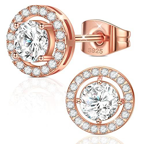 Pendientes para mujer de oro rosa 925, pendientes de oro rosa, pendientes redondos con circonitas, plata de ley de...