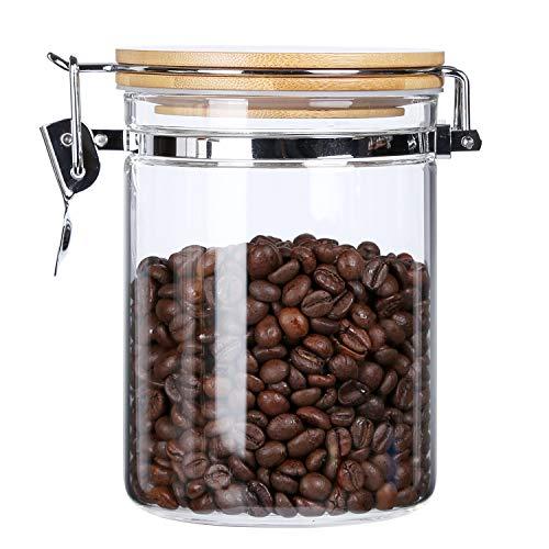 KKC 食品保存容器・キャニスター 800ML ガラス密封びん 食品保存瓶 キッチン収納 コーヒー豆 お茶 スナック キャンディー 砂糖 食品保存