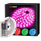 MINGER LED Strip Lights 5m, RGB Color Changing LED Strip Lights Full Kit with Remote for Home Kitchen Bedroom Bar Decoration