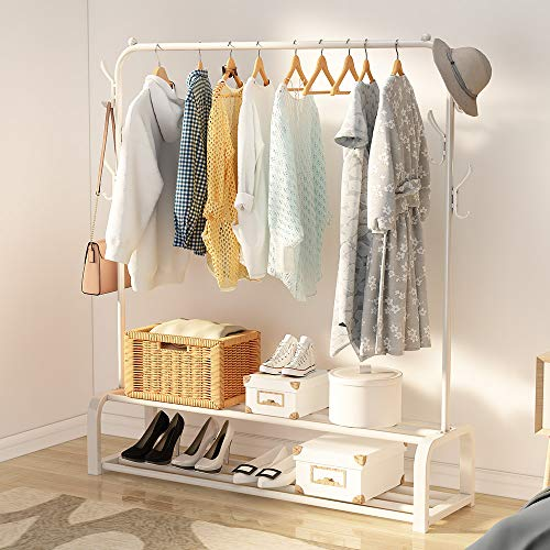 UDEAR Garment Rack Free-Standing Clothes Rack with Top Rod,Lower Storage and 6 Hooks,White
