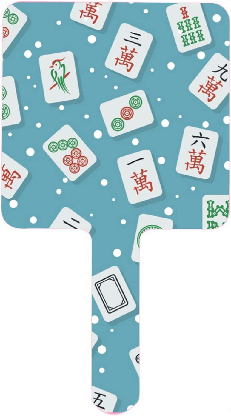 Hand Mirror Stylish Lowest price Daily bargain sale challenge Mahjong majiang Tiles Ha Travel Teal on Blue