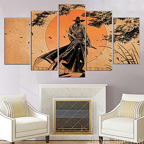 Cuadro Pintura De Paisaje De Luna De Samurái Antiguo XXL Impresiones En Lienzo 5 Piezas Cuadro Moderno En Lienzo Decoración para El Arte De La Pared del Hogar 150×80 Cm HD Impreso Mural (Enmarcado)
