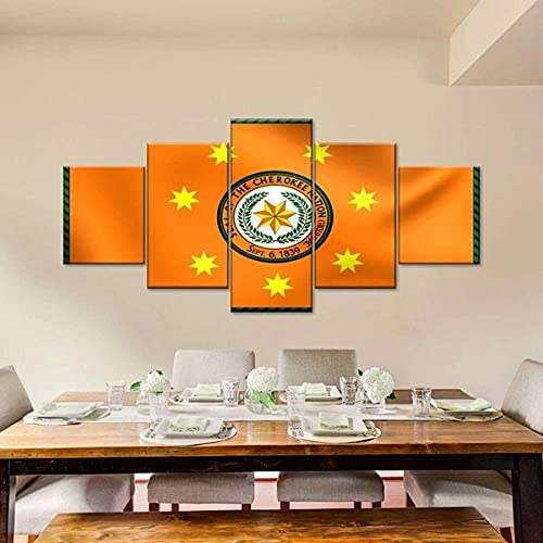 ARIE Leinwanddrucke 5 Stück Leinwand Bilder Wanddeko Wand Flagge Der Cherokee-Nation Hd Poster Kunstwerke Malerei Weihnachten Kreative Geschenke
