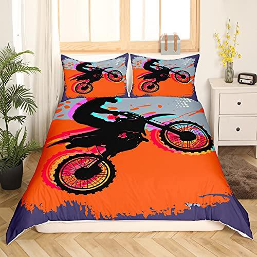 Feelyou Cooles 3D-Motorrad-Bettbezug-Set für Jungen & Herren, Speed-Motocross, Bettbezug, Reitthema, Bettwäsche-Set, orangefarbene Tagesdecke, Mikrofaser-Bettbezug, Reißverschluss