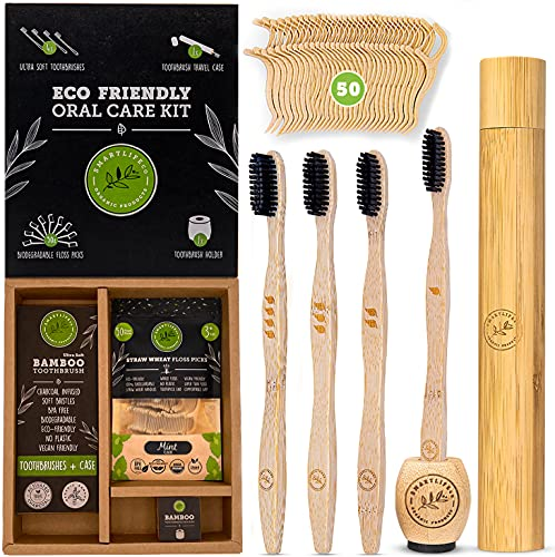 Bamboo Charcoal Toothbrush with Natural Floss Picks, Travel Case & Stand - Soft Bristles for Sensitive Adult Teeth   Biodegradable Toothbrushes & Dental Flosser Kit   Eco Friendly Wood Holder & Cover