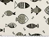 Jacquard Dekostoff, Fische, schwarz-weiß, 140cm