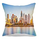 Starohou Throw Pillow Cover Long Exposure Downtown Waterfront River Pittsburg Skyline Roberto Landmarks On Us Business Finance Comfortable Linen Decorative Cushion Pillowcase for Chair 16x16 Inch