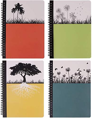 Quaderno a spirale con copertina rigida, diario Dream Tree da scrivere, diario bianco per composizione, quaderno a righe, 80 fogli, 25 x 18 cm, confezione da 4 Dream Tree, 4 pezzi, grande