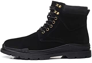 2019 Mens New Lace-up Flats Mens Ankle Boots For Men Work Boots Lace Up Suede Rubber Sole Stitched Outdoor High Top Easy Care Round Toe Contrast Collar Buckle  Warm ( Color : Black , Size : 5.5 UK )