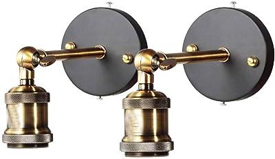 Applique murale en laiton,Rétro murale Lumière ronde rustique rétro lampe pendante E27 (ampoule non incluse) (2-Pack)