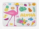 AoLismini Aloha Badematte, Sommer Icons von lustigen Cartoon Früchte EIS Laub und Flamingo Charakter mit Hut, Plüsch Badezimmer Dekor Teppich mit rutschfesten Rücken,