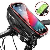 Borse Bici Telaio Impermeabile Borsa Manubrio Bicicletta con Touch Screen, Porta Telefono MTB Borsa Porta Cellulare Bici per iPhone XS MAX/XR/X/8Plus/Samsung S9/S8 fino a 6,5' Smartphone, Rosso