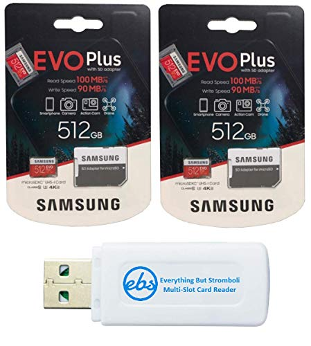 Samsung 512GB Evo Plus MicroSD Card (2 Pack EVO+ Bundle) Class 10 SDXC Memory Card with Adapter (MB-MC512) with (1) Everything But Stromboli Micro & SD Card Reader