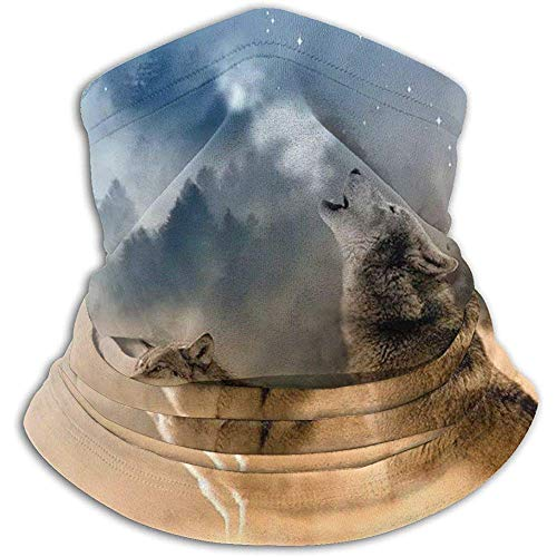 Drie musketiers wolven in de woestijn zanderige land huilen naar maan ski masker koud weer gezicht masker nek warmer kap winter hoeden