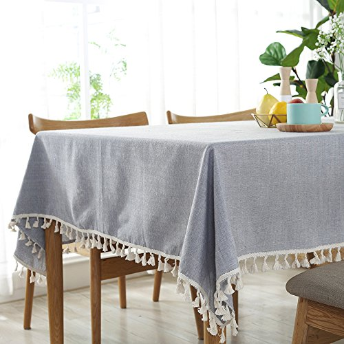 ColorBird Solid Color Tassel Tablecloth Plain Cotton Linen Dust-Proof Table Cover for Kitchen Dinning Party Tabletop Decoration (Rectangle/Oblong, 55 x 120 Inch, Light Gray)