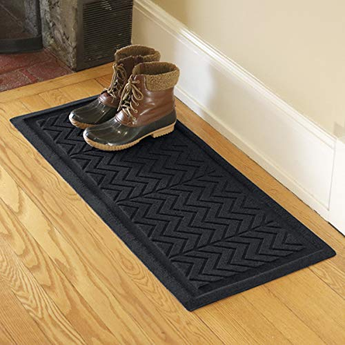 Bungalow Flooring Waterhog Indoor/Outdoor Boot Tray, 15 by 36 inches, Made in USA, Skid Resistant, Easy to Clean, Catches Water and Debris, Chevron Collection, Charcoal