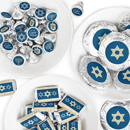 Big Dot of Happiness Happy Hanukkah - Mini Candy Bar Wrappers, Round Candy Stickers and Circle Stickers - Chanukah Candy Favor Sticker Kit - 304 Pieces