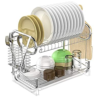Dish Drying Rack, F-color Stable 2 Tier Dish Rack Easy Install Kitchen Dish Drainer with Removable Drain Board, Cutlery Drying Basket, Cutting Board Holder, Silver
