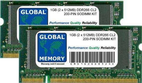1 GB (2 x 512 MB) DDR266 MHz PC2100 200 Pines SODIMM...
