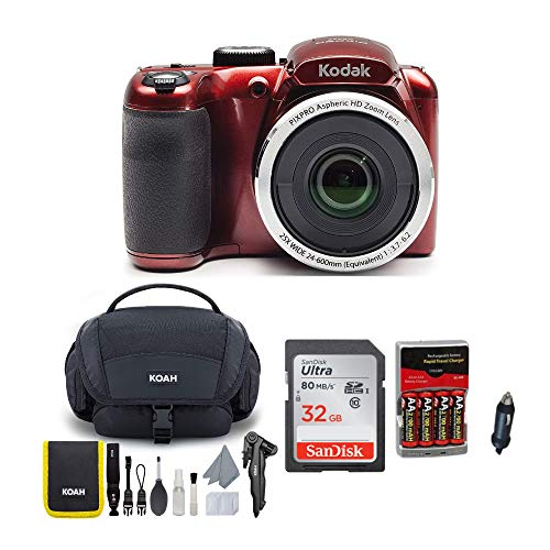 KODAK PIXPRO AZ252 Astro Zoom Digital Camera (Red) Bundle with 32GB Card, Case, Accessory kit, and Rechargeable Batteries