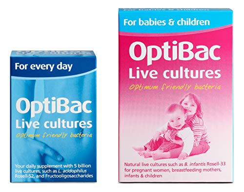 OptiBac for Every Day, Pack of 30 Capsules + for Babies & Children, Pack of 30 Capsules