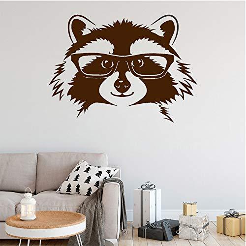 wZUN Calcomanía de Mapache Bosque Animal Vinilo Pared Pegatina Cabeza con Gafas decoración de habitación extraíble decoración del hogar 42X57cm